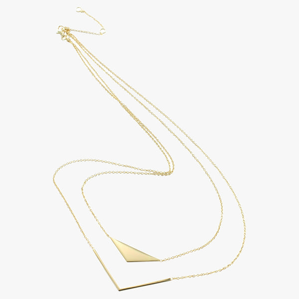 Sterling silver double layer necklace on chain in 18ct gold vermeil finish