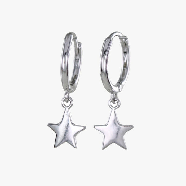 Sleepy Star Sterling Silver Hoop Earrings
