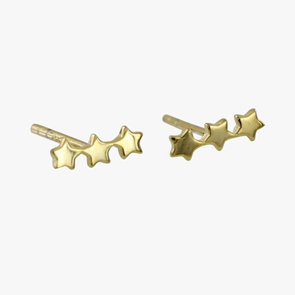 Trio Star Sterling Silver Stud Earrings