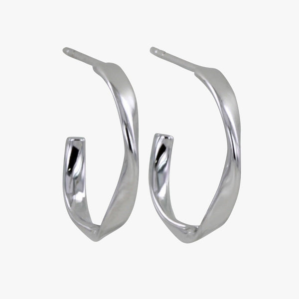 Twister Sterling Silver Hoop Earrings