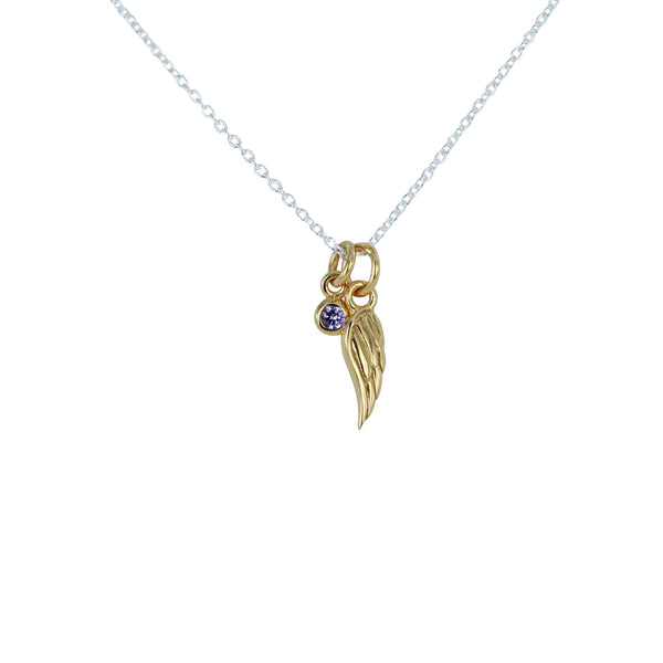 Angel Wing and Amethyst Charm Necklace