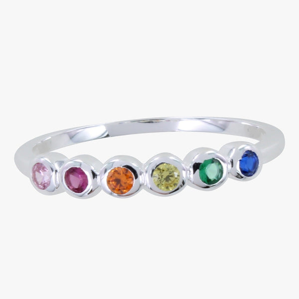 Sterling Silver Rainbow Stone Ring