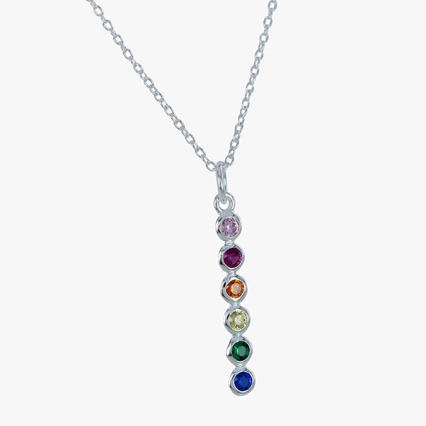 Sterling Silver Rainbow Stone Drop Necklace