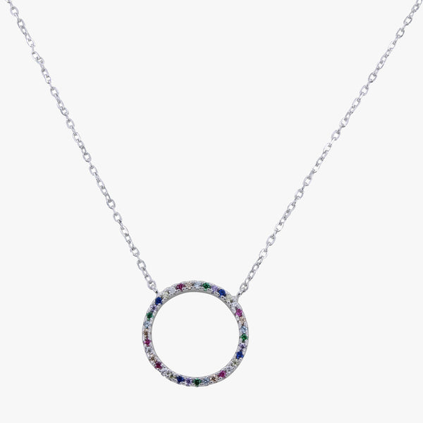 Sterling silver chain necklace in a halo disc and coloured stones
