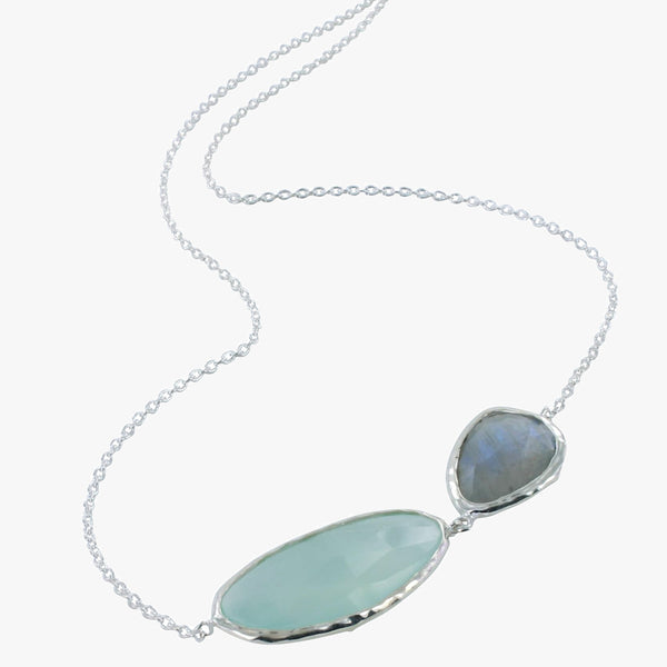 Aqua Chalcedony and Labradorite Sterling Silver 2 Gem Necklace