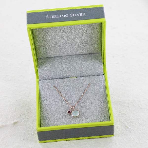 Iris Sterling Silver and Rose Aqua and Garnet Necklace