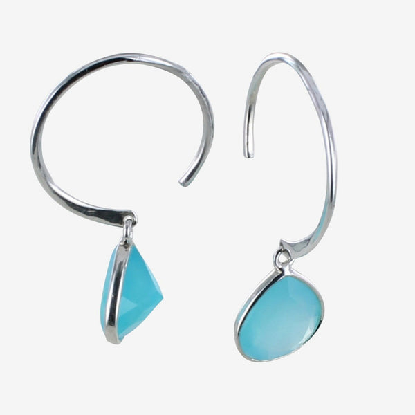 Sterling silver Pear Drop Earrings with Aqua Paraiba stone