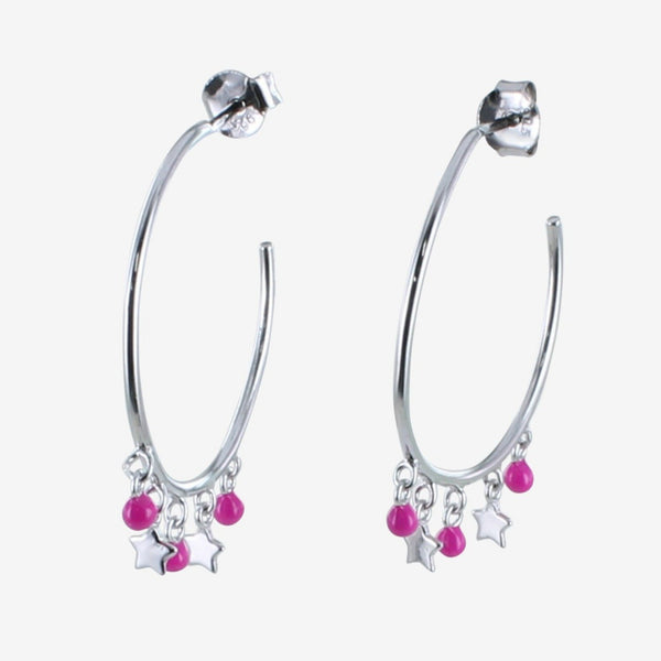 Pink Starry Hoop Earrings