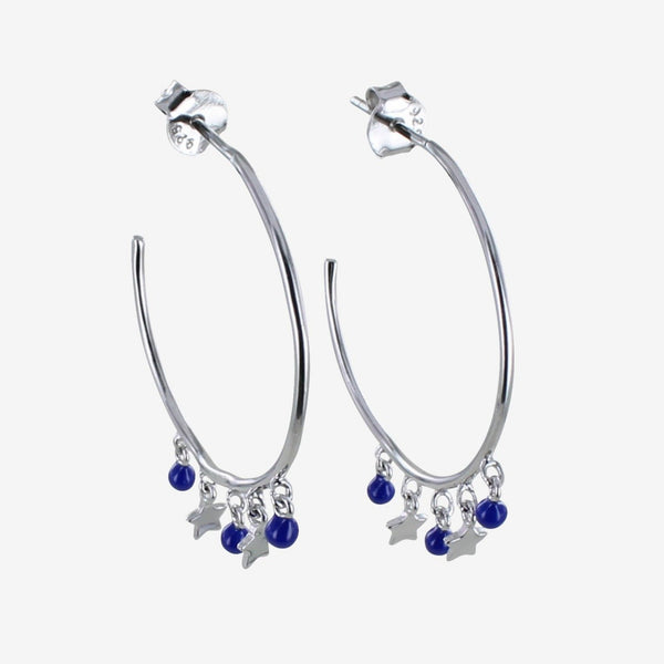 Sterling silver hoop earring with blue enamel beads and high shine star charms hanging off