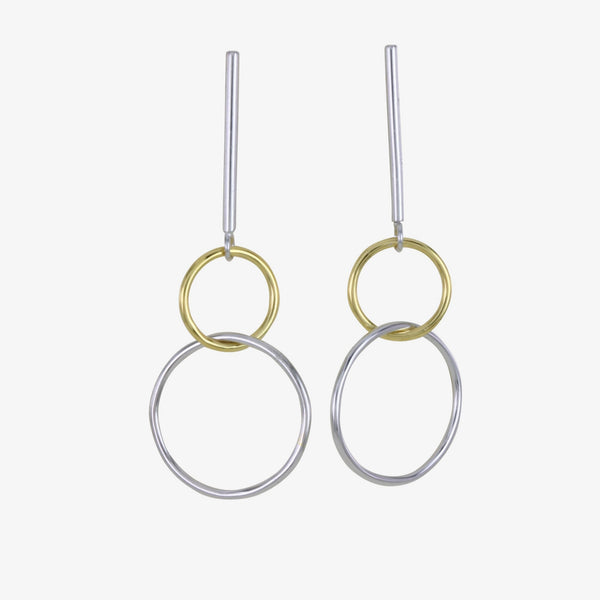 Bar and Twin Ring Sterling Silver Drop Earrings