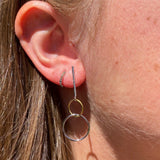 Bar and Twin Ring Drop Earrings
