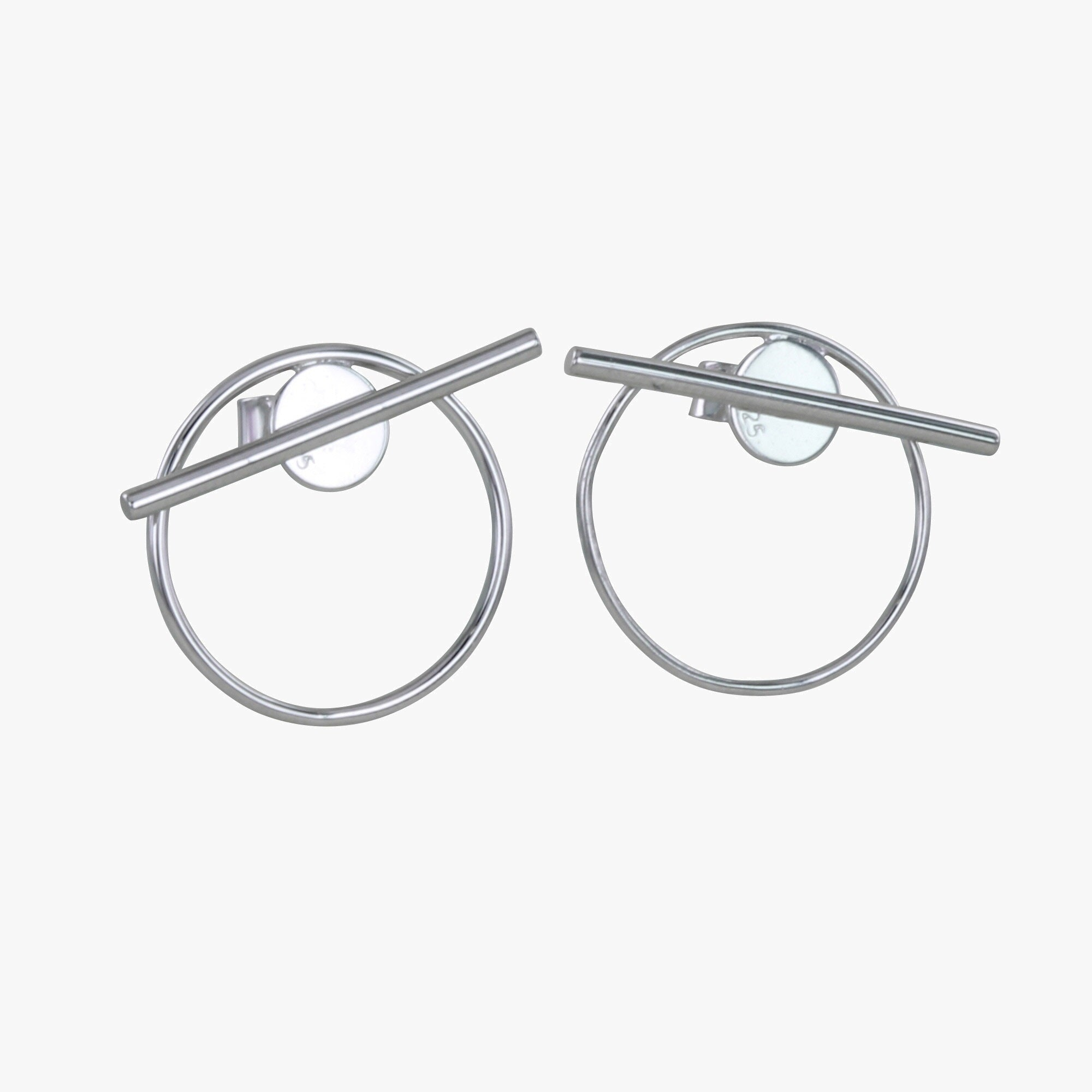 Silver Bar and Circle Stud Earrings