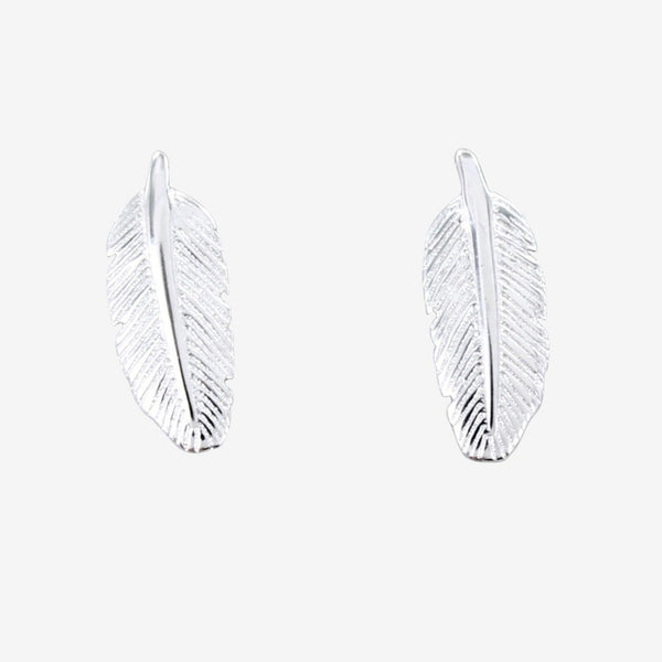 Small Sterling Silver Feather Stud