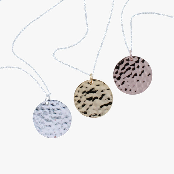 Sterling silver hammered disc necklace in silver, 18ct gold or rose gold vermeil on a silver chain