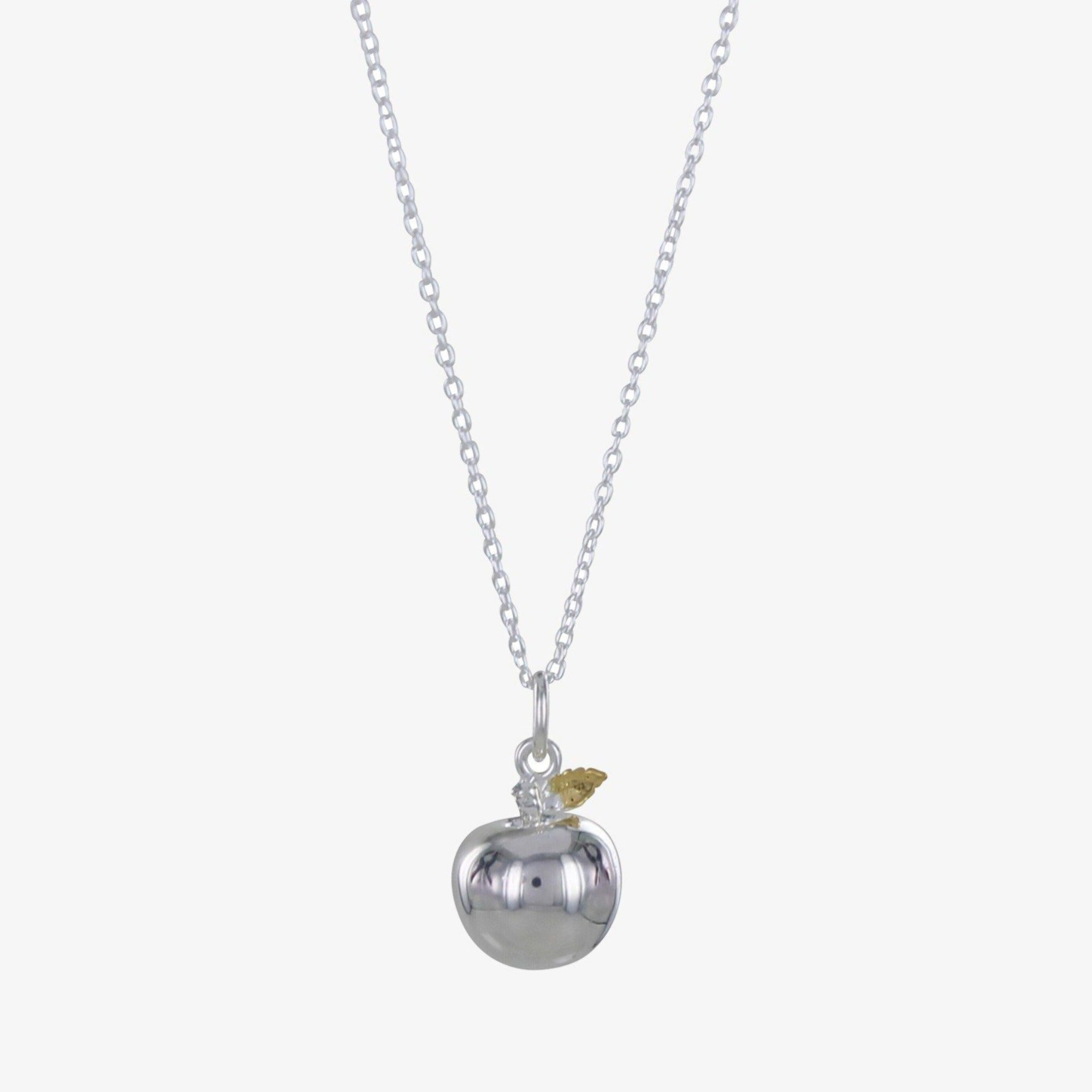 Sterling Silver Apple Charm Necklace