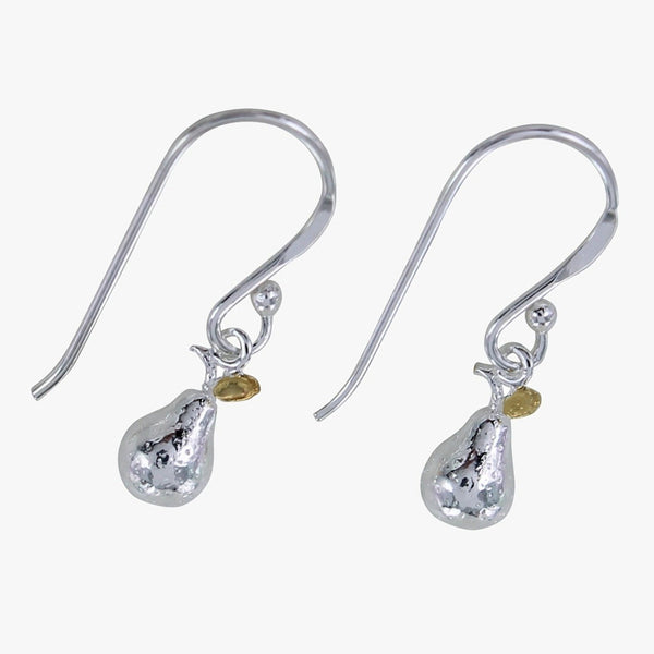 Pear Charm Sterling Silver Earrings