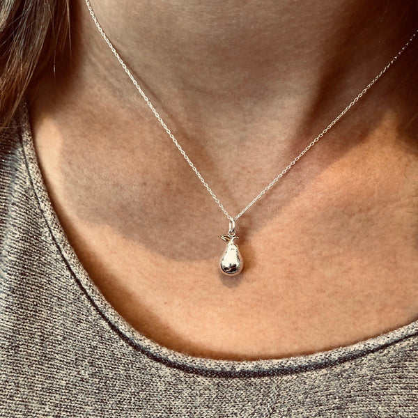 Sterling Silver Pear Charm Necklace