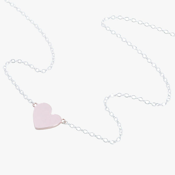 Sterling silver slider necklace with a rose heart