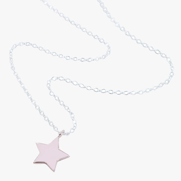 Sterling silver necklace with rose gold star charm