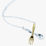 Silver spoon with gold vermeil fork on a silver chain