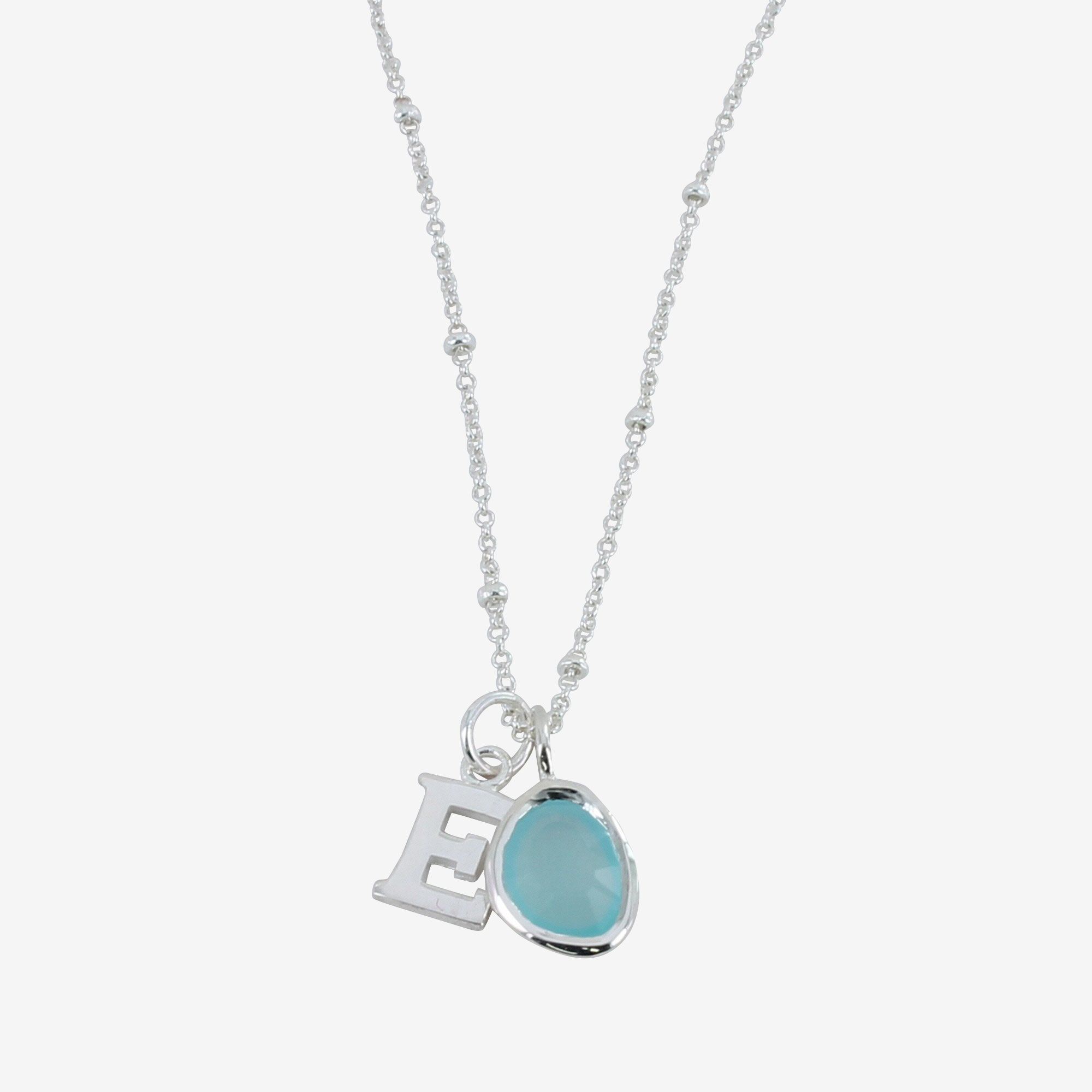 Aqua Silver Necklace with Initial