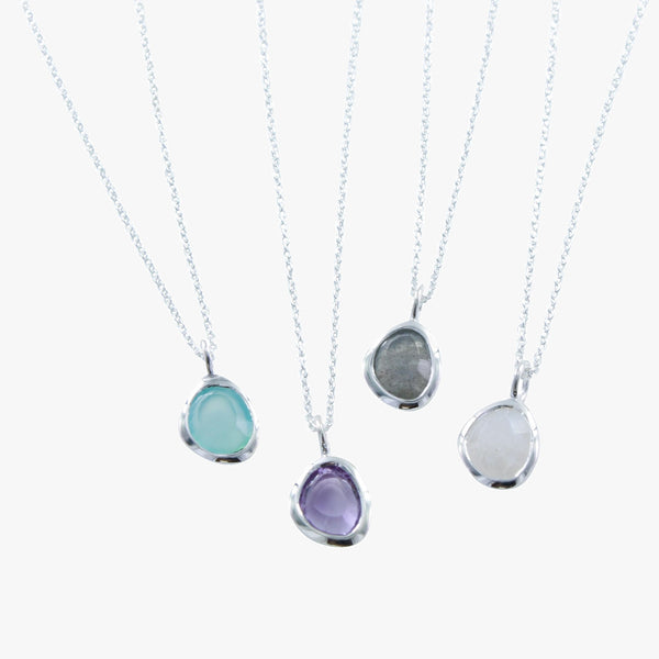Sterling silver midas necklace with aqua, amethyst, labradorite and moonstone stones
