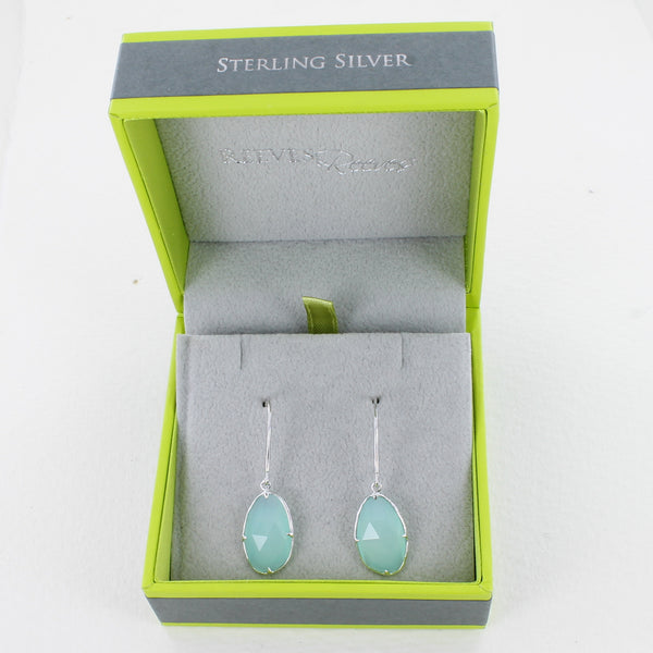 Sterling Silver Aqua Gem Earrings