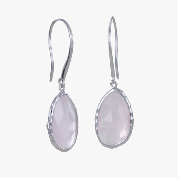 Sterling Silver Rose Quartz Gem Earrings