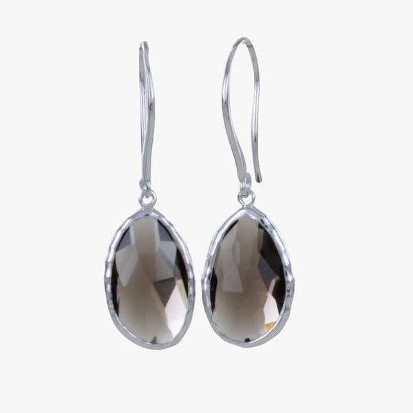 Sterling Silver Smokey Quartz Gem Earrings