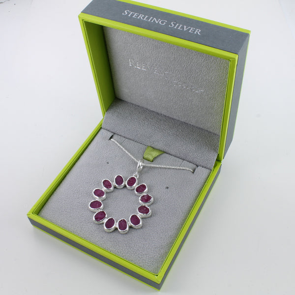 Rough Ruby Circle Necklace