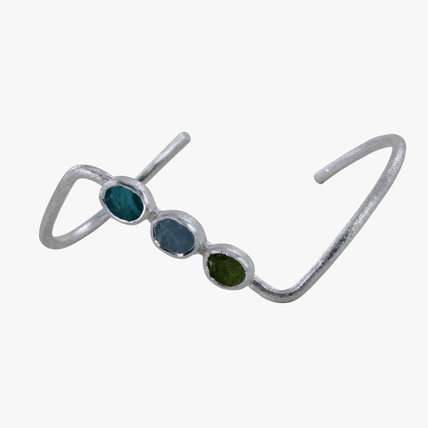 Trio Rough Stone Cuff Bracelet