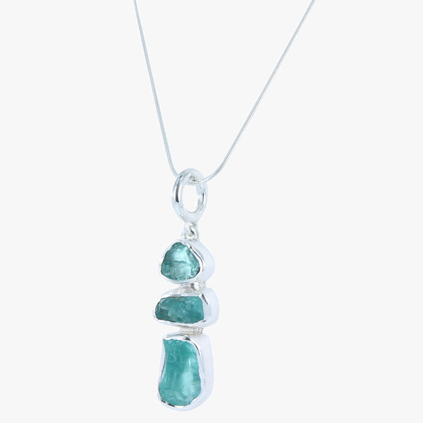 Sterling silver pendant necklace with 3 apatite stones