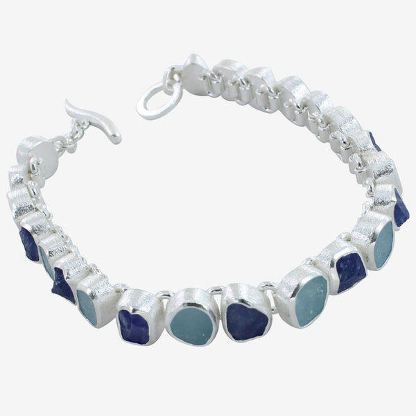Rough Stone Two Blues Bracelet