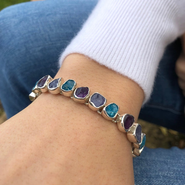 Sterling Silver & Rough Blue Stones Bracelet