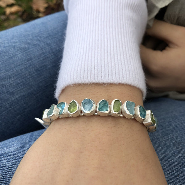 Sterling Silver Rough Green Stones Bracelet