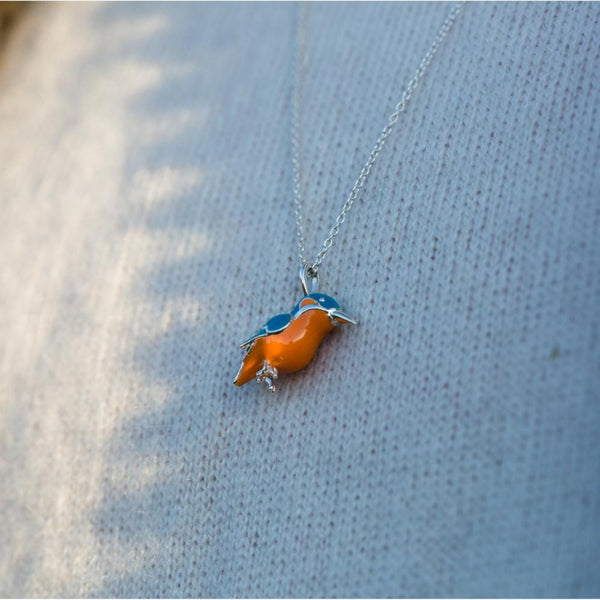 Enamel Kingfisher Necklace