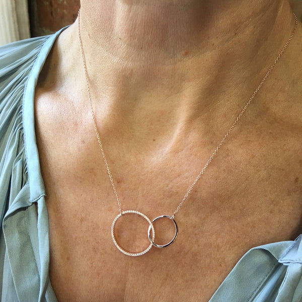 Twin Ring Pavé Necklace