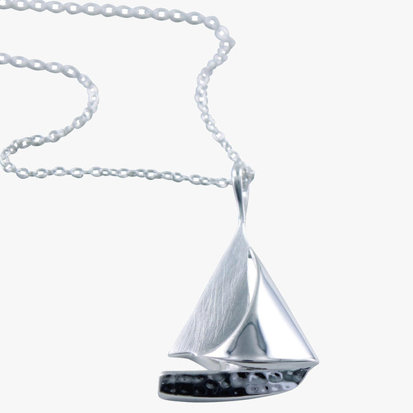 Sterling silver Sail Boat necklace on a silver chain