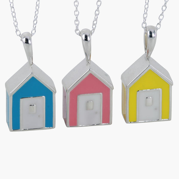 Sterling silver beach hut pendant with coloured enamel on a silver chain