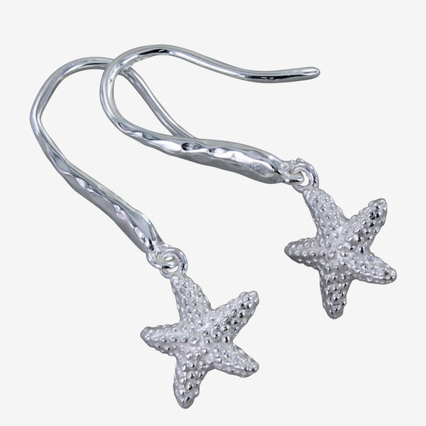 Silver Starfish Hook Earrings