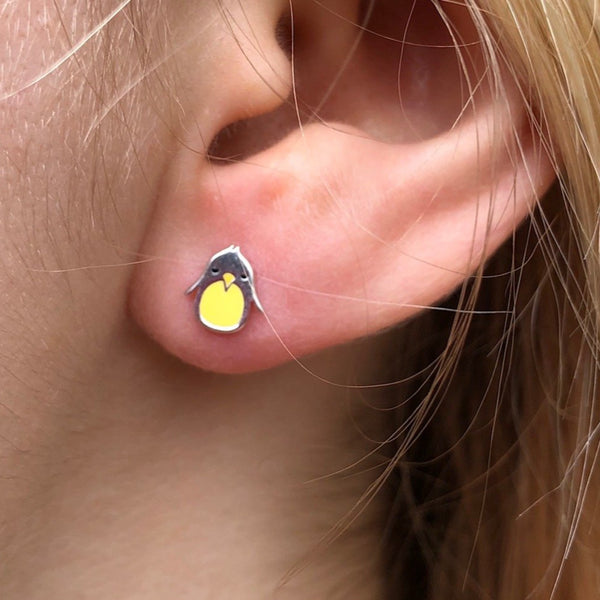 Enamel Penguin Stud earrings