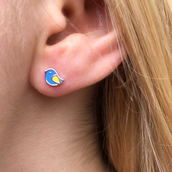 Blue Enamel Bird Stud Earrings