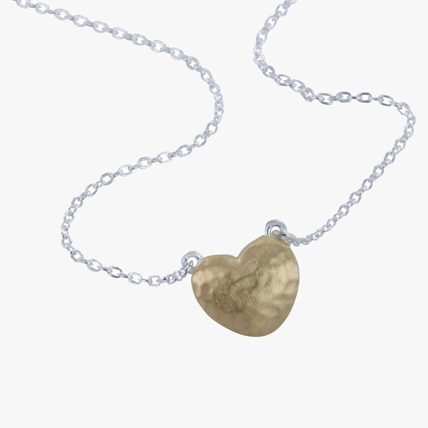 Sterling silver heart necklace with 18ct gold vermeil detail, on a silver chain