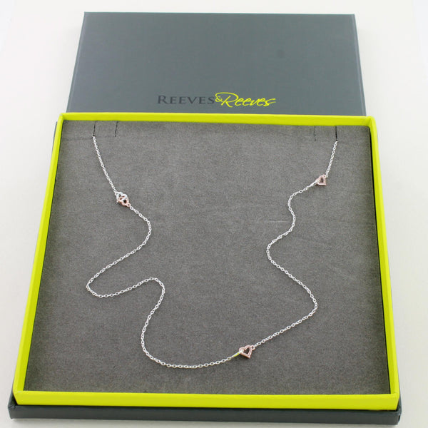 Twosome Hearts Long Chain Necklace