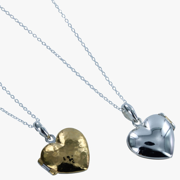 Sterling silver heart locket in high shine silver with a hammered 18ct gold vermeil front