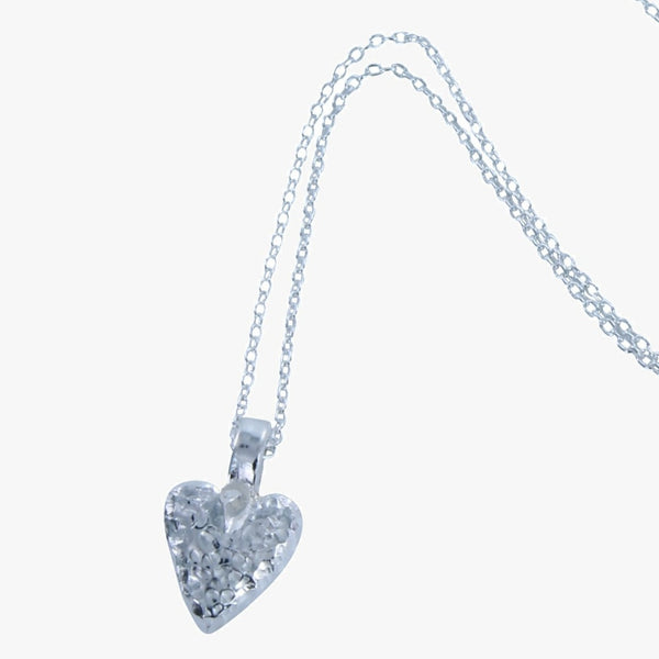 Sterling silver mini chocolate heart necklace on a silver chain