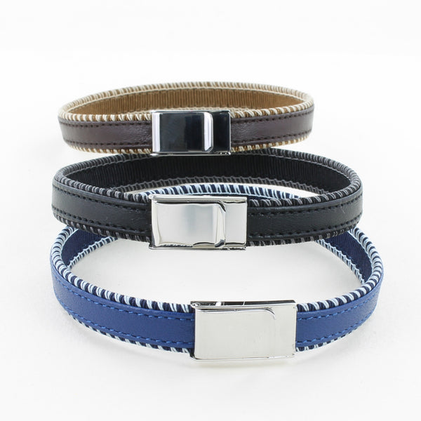 Leather bracelet with stainless steel clasp. Available in blue, black and brown