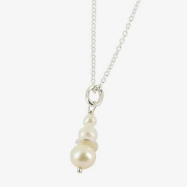 3 Pearl Drop Necklace - White