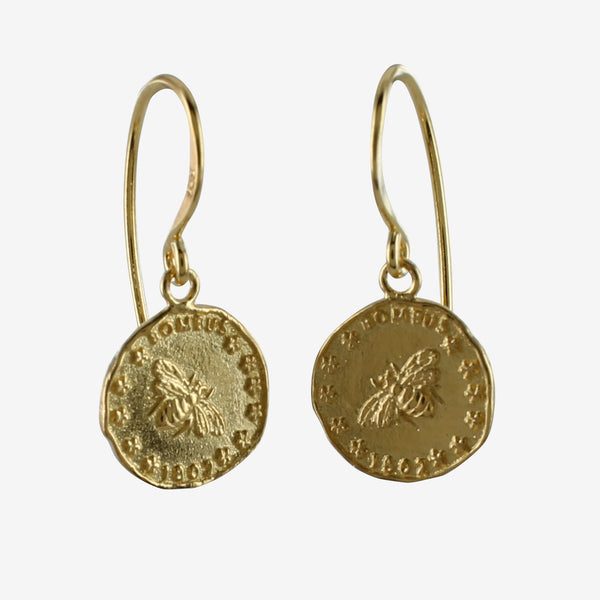 Bee Coin Earrings Gold