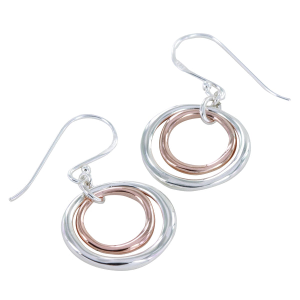 Two Ring Earrings with  Rose Gold